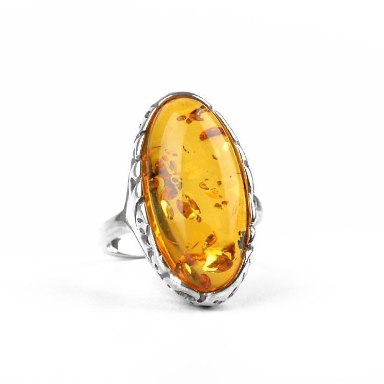 Bright Honey Amber in Silver Ring