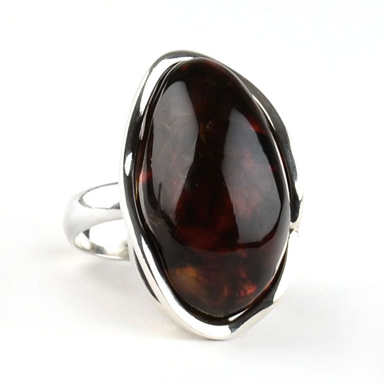 Bold Cherry Amber Ring