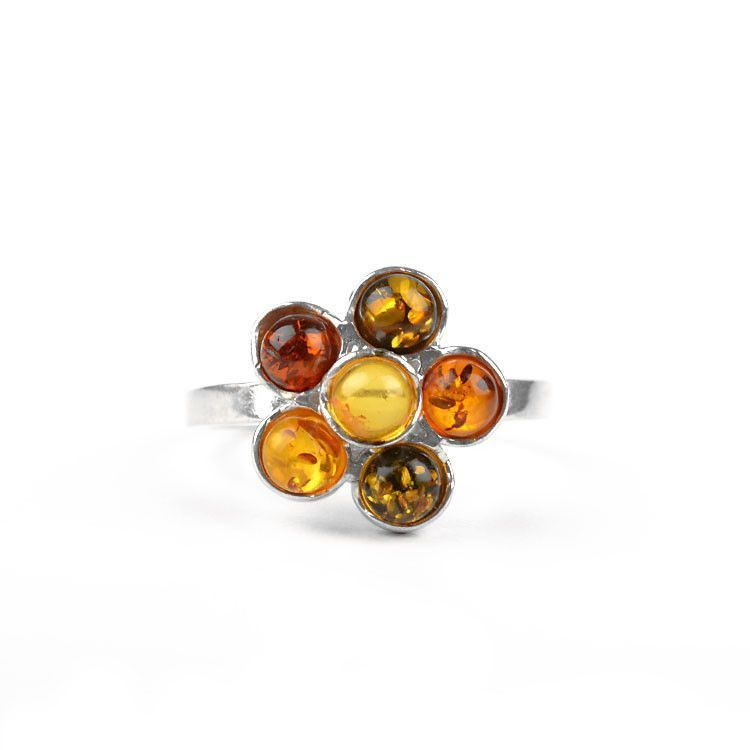 Cute Little Amber Flower Ring