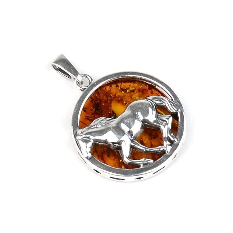 Silver Horse Honey Amber Pendant