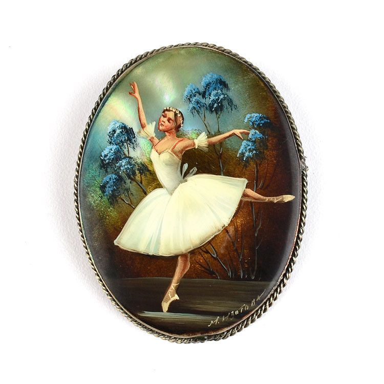 Russian Ballerina Hand Painted Brooch