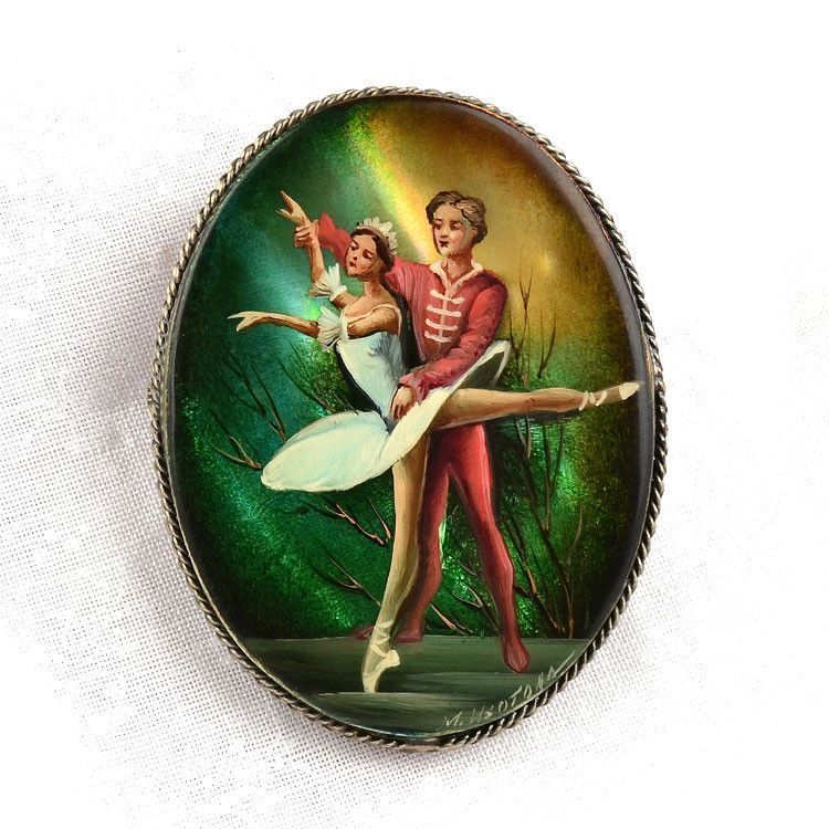 Ballet Dance Mother of Pearl Brooch