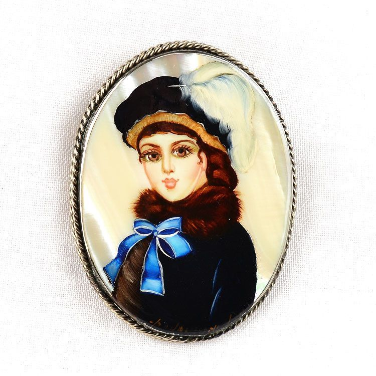 Unknown Woman Portrait Russian Brooch