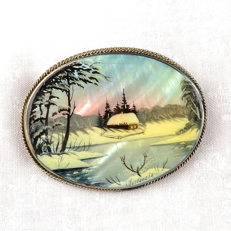 Russian Winter Scene Brooch