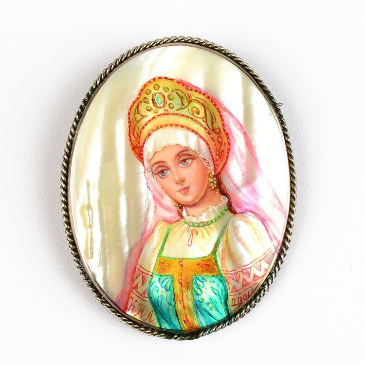 Girl In Russian Folk Dress Brooch