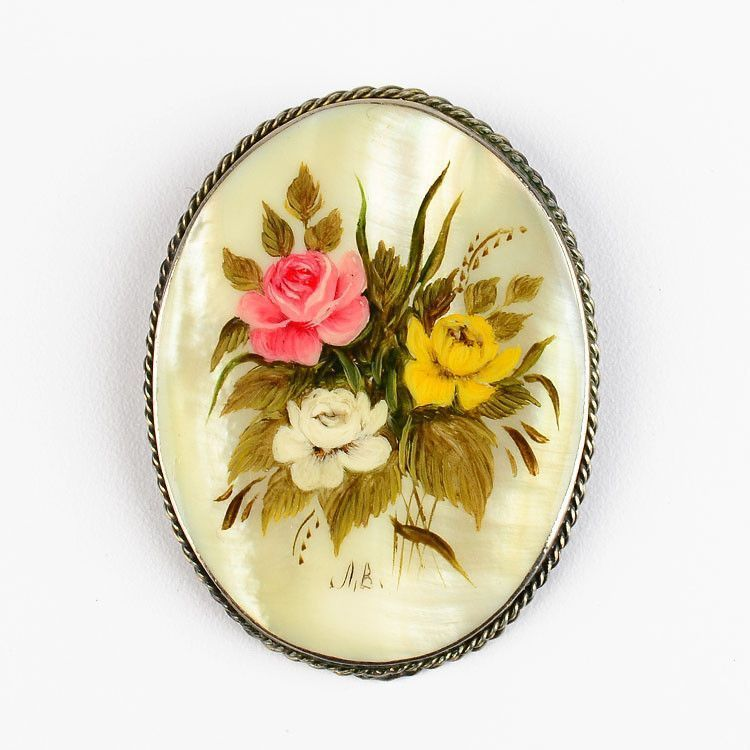 Floral Mother Of Pearl Oval Brooch