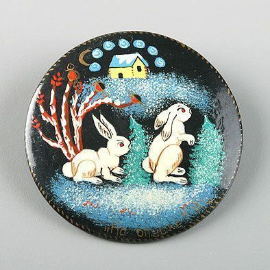Winter Rabbits Hand Painted Brooch