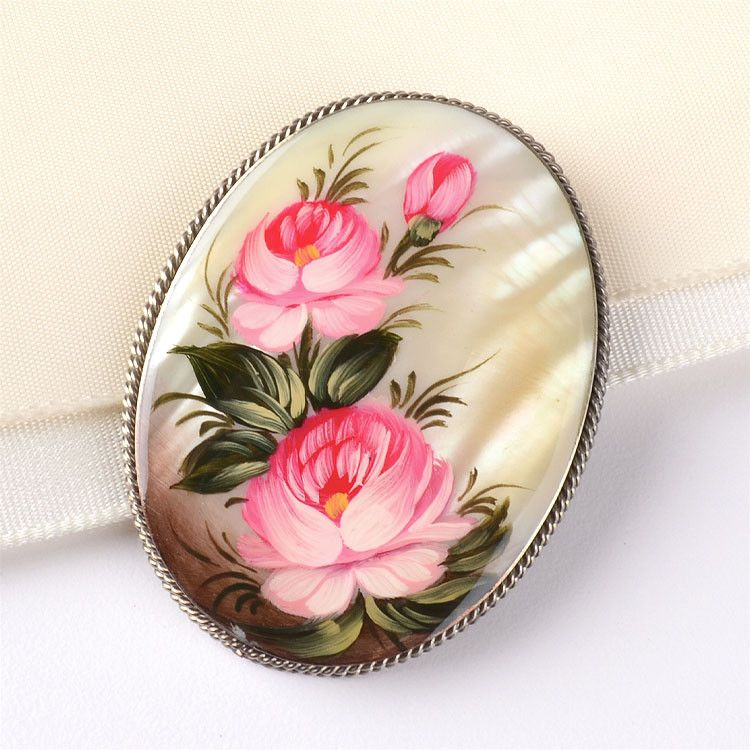 Pink Roses Mother of Pearl Brooch Pin