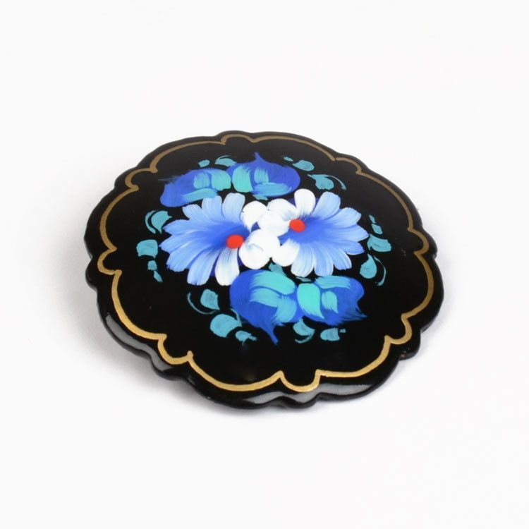Blue/White Floral Brooch