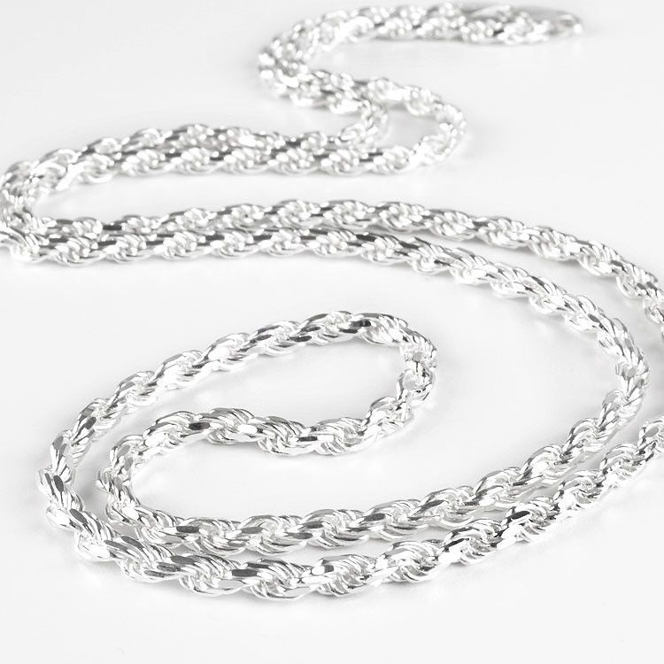 "30"" Rope Style Silver Chain"