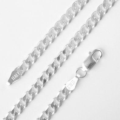 4mm Flat Sterling Silver Curb Chain Necklace