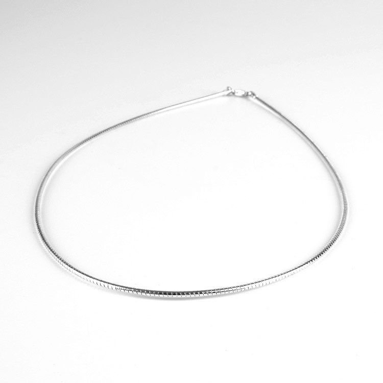 Round Omega Silver Chain Necklace