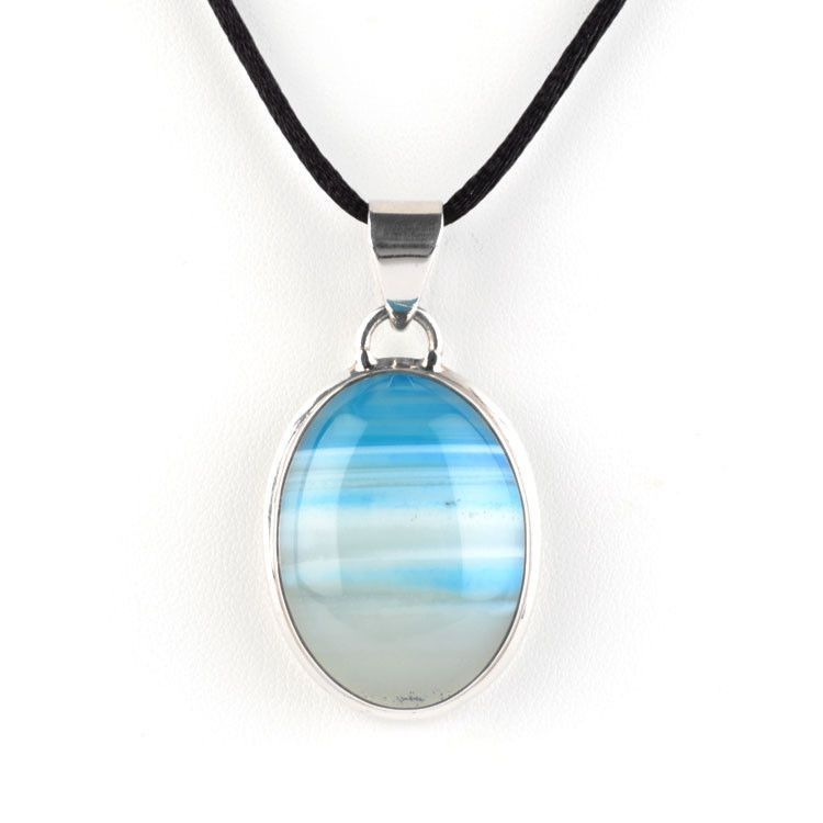 Blue Banded Agate Pendant