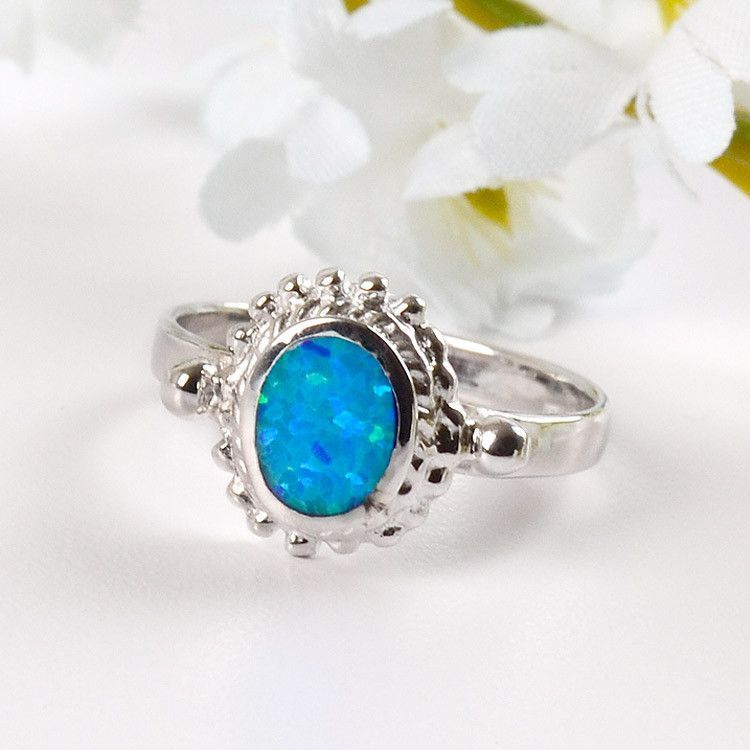Classic Blue/Green Opal Ring