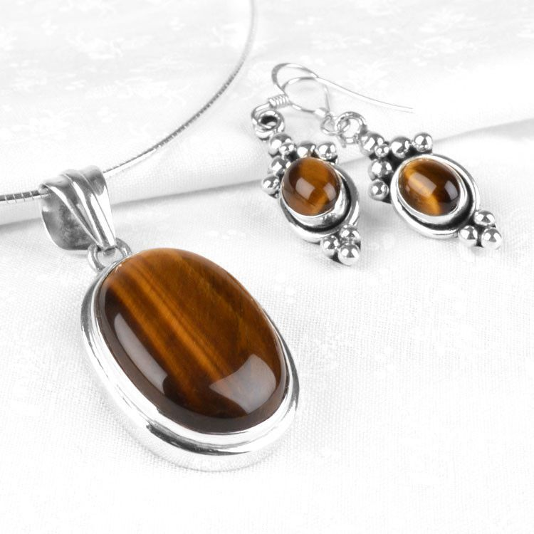 Tiger Eye Gemstone Jewelry Set