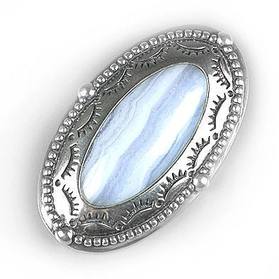 Blue Lace Agate Pin or Pendant