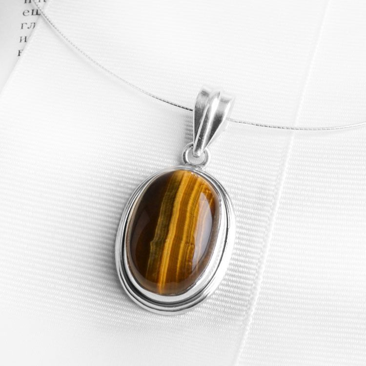Omega Necklace with Tiger Eye Pendant