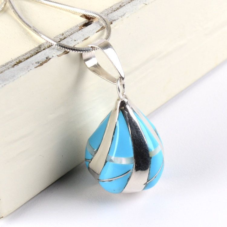 Turquoise & Silver Drop Pendant