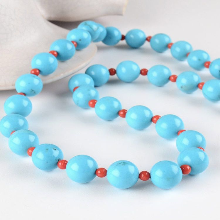 Turquoise & Coral Beads Necklace