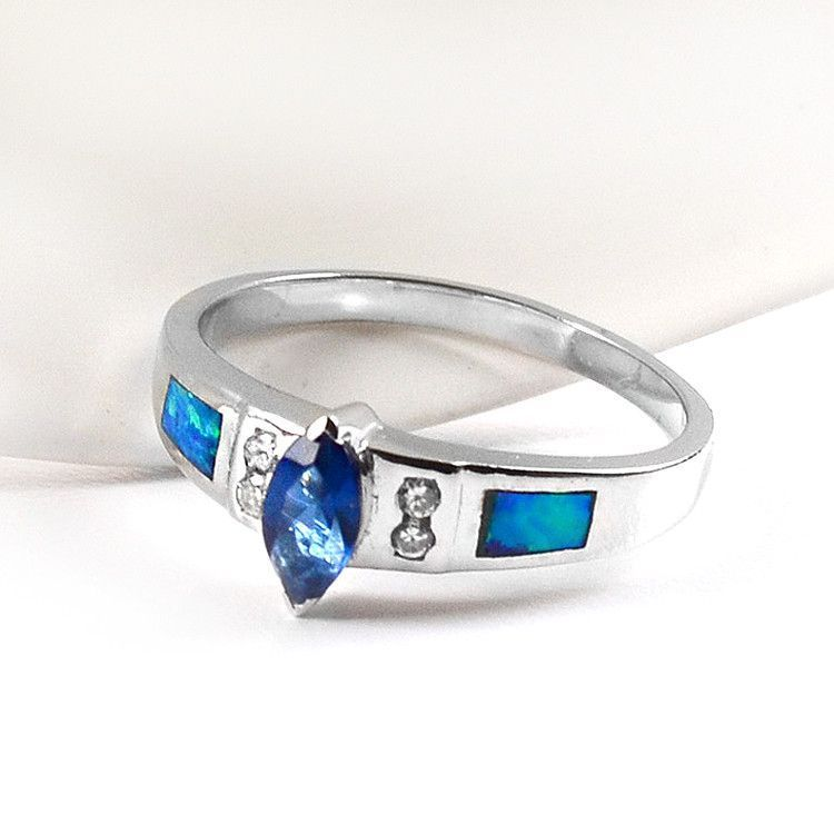 Blue Topaz, CZ, and Opal Inlay Ring