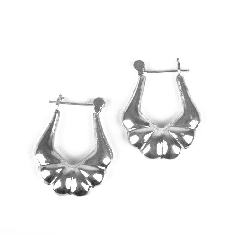 Silver Scalloped Style Earrings