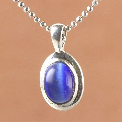 Tiny Blue Cat Eye Pendant