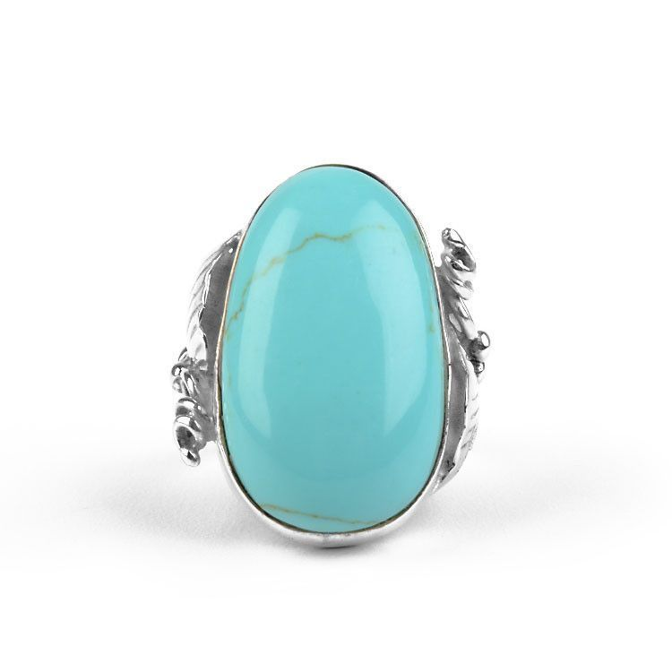 Turquoise & Silver Foliage Ring