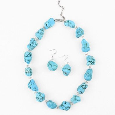 Dyed Howlite Turquoise Fashion Set
