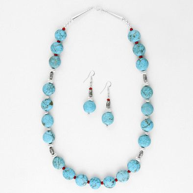 Turquoise Necklace & Earrings Set