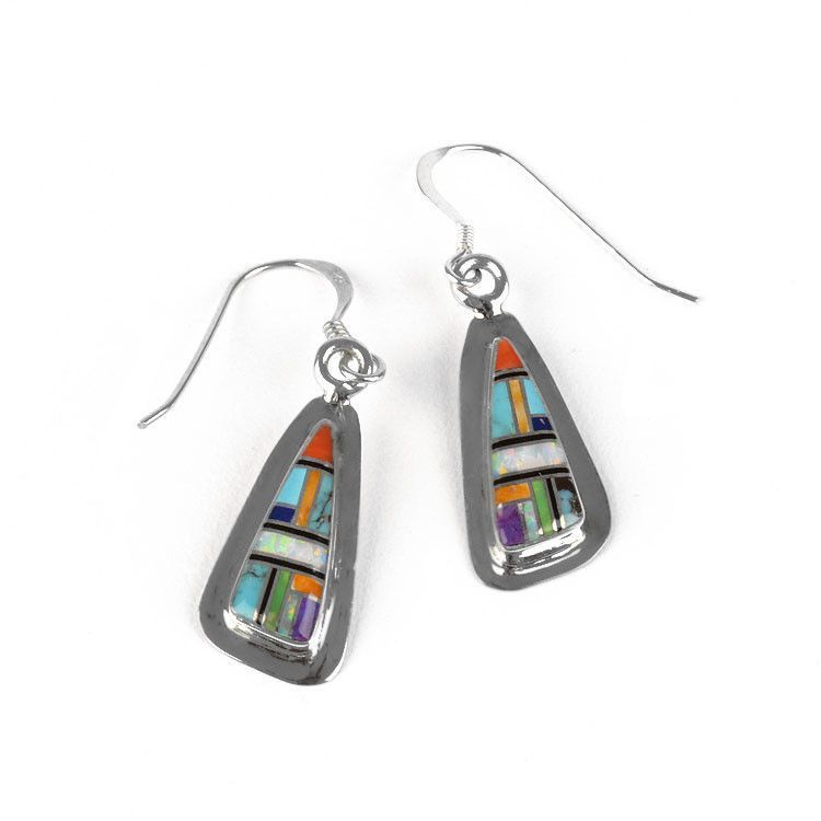 Small Colorful Gems Inlay Earrings