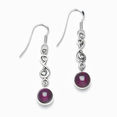 Unique Garnet and Silver Earrings