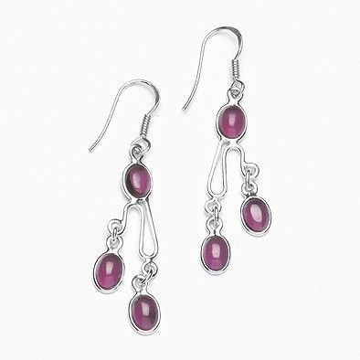 Multi-Stone Garnet Earrings in Sterling Silver