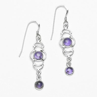 Dual Stone Silver and Amethyst Earrings