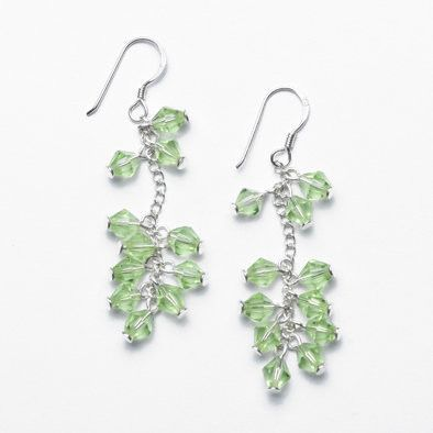 Green Crystal and Silver Earrings