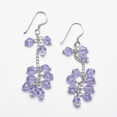 Lilac Crystal and Silver Earrings