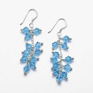 Blue Crystal and Sterling Silver Earrings