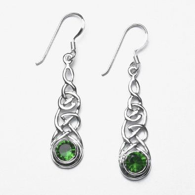 Long Celtic Earrings with Green Crysta;s