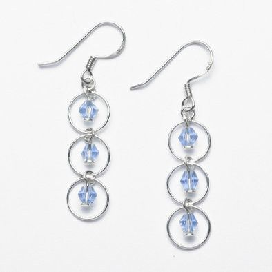Blue Crystal Sterling Silver Earrings