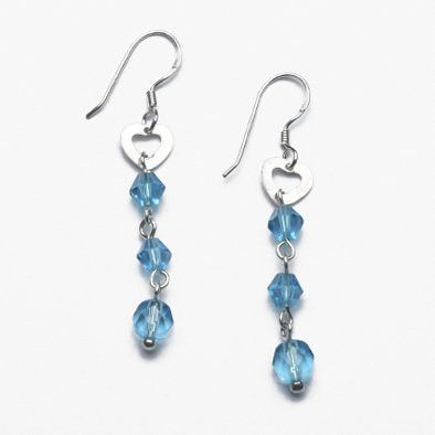 Sterling Silver Heart Earrings with Blue Crystals