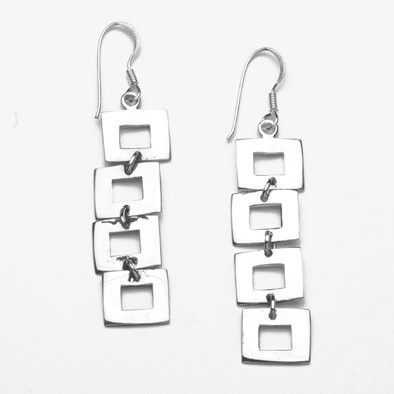 Unique Squares Sterling Silver Earrings