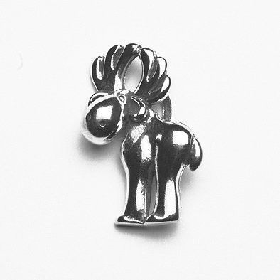 Cute Moose Silver Pendant
