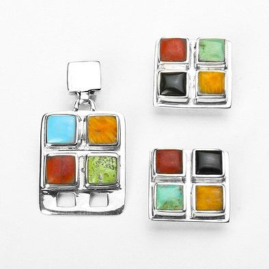 Multi-Stone Southwestern Pendant and Earrings Set