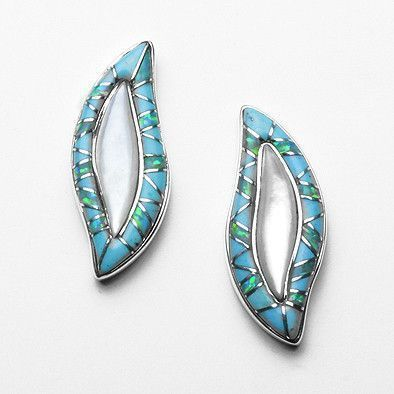 Turquoise & Mother of Pearl Southwest Earrings