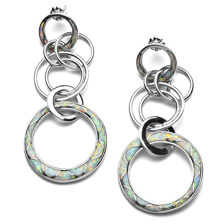 Created Opal and Turquoise Hoop Earrings