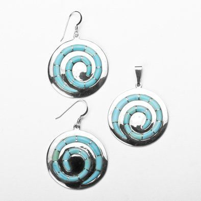 Turquoise Swirls Earrings and Pendant Set