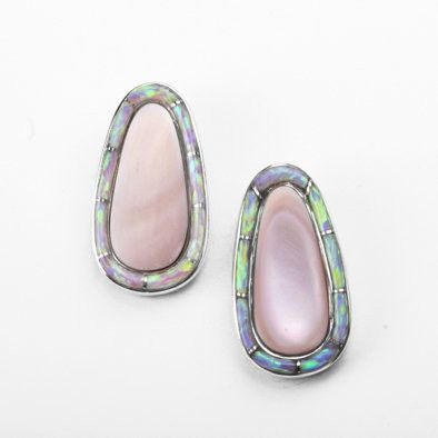Mother of Pearl Stud Earrings with Created Opal Inlay