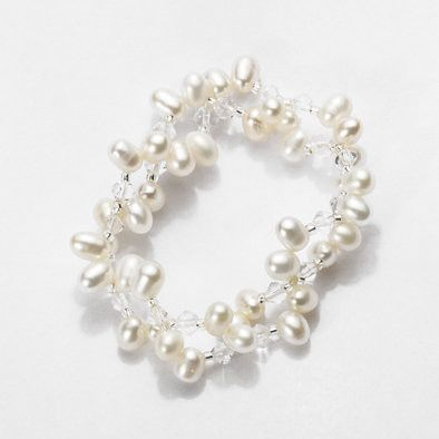 White Pearls Beaded Stretch Bracelet