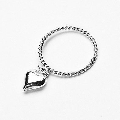 Dangling Heart Sterling Silver Ring