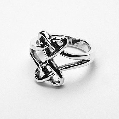 Two Hearts Together Sterling Ring