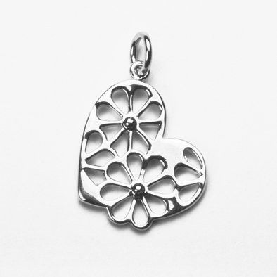 Heart of Flowers Sterling Pendant